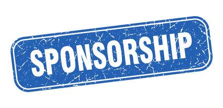 sponsorship stamp. sponsorship square grungy blue sign. Vecteurs