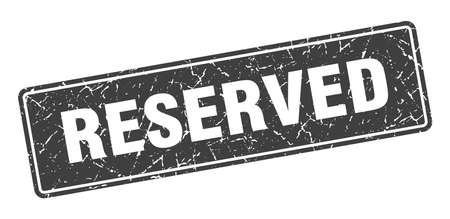 reserved stamp. reserved vintage gray label. Sign 向量圖像