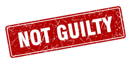 not guilty stamp. not guilty vintage red label. Sign