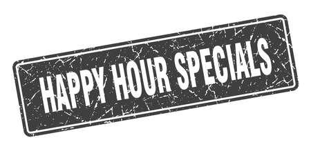 happy hour specials stamp. happy hour specials vintage gray label. Sign