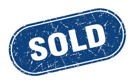 sold sign. sold grunge blue stamp. Label Иллюстрация