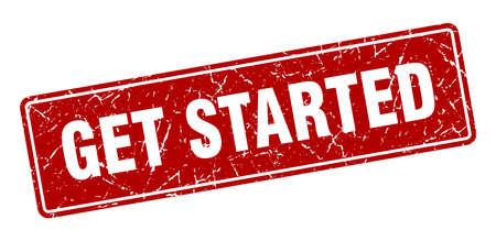 get started stamp. get started vintage red label. Sign Vektorgrafik