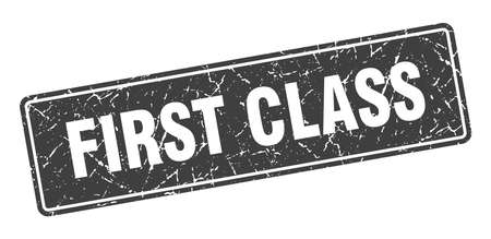 first class stamp. first class vintage gray label. Sign