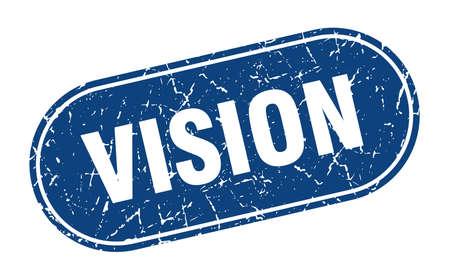 vision sign. vision grunge blue stamp. Label Ilustracja