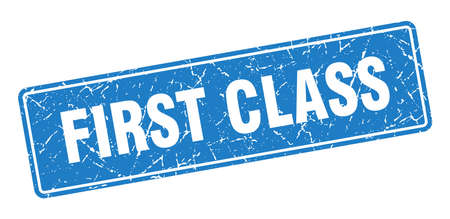 first class stamp. first class vintage blue label. Sign