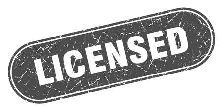 licensed sign. licensed grunge black stamp. Label Illustration