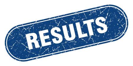 results sign. results grunge blue stamp. Label