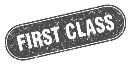 first class sign. first class grunge black stamp. Label 向量圖像