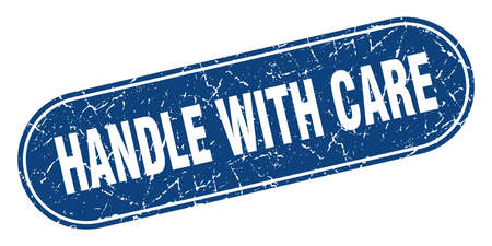 handle with care sign. handle with care grunge blue stamp. Label Ilustração