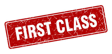 first class stamp. first class vintage red label. Sign