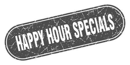happy hour specials sign. happy hour specials grunge black stamp. Label