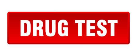 drug test button. drug test square red push button Illustration