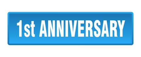 1st anniversary button. 1st anniversary square blue push button