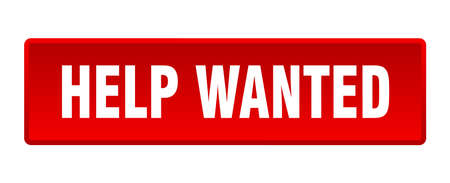 help wanted button. help wanted square red push button Ilustração