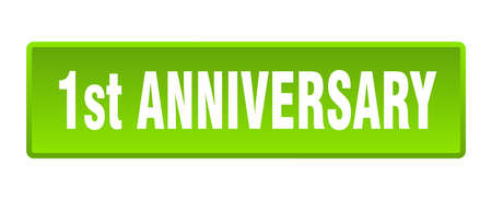 1st anniversary button. 1st anniversary square green push button 向量圖像