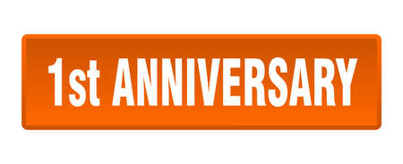 1st anniversary button. 1st anniversary square orange push button