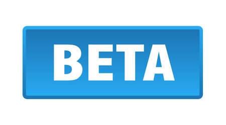 beta button. beta square blue push button