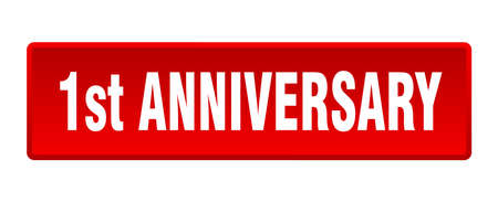 1st anniversary button. 1st anniversary square red push button 向量圖像