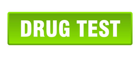 drug test button. drug test square green push button Illustration