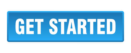 get started button. get started square blue push button