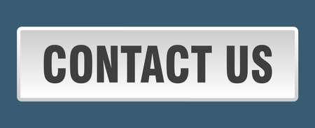 contact us button. contact us square white push button Vektorové ilustrace