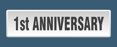 1st anniversary button. 1st anniversary square white push button
