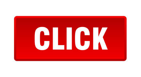 click button. click square red push button 向量圖像