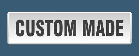 custom made button. custom made square white push button 向量圖像