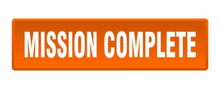 mission complete button. mission complete square orange push button