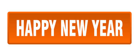 happy new year button. happy new year square orange push button