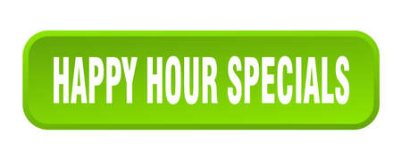 happy hour specials button. happy hour specials square 3d push button Vettoriali