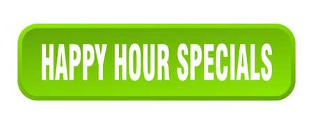 happy hour specials button. happy hour specials square 3d push button Vector Illustration
