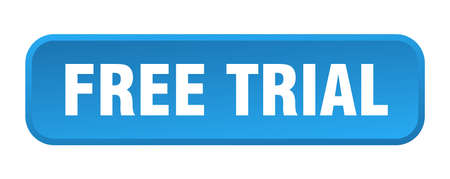 free trial button. free trial square 3d push button