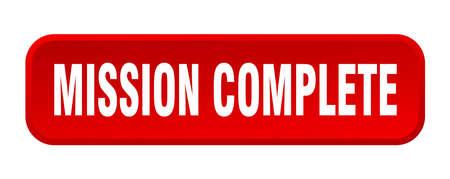 mission complete button. mission complete square 3d push button Ilustração