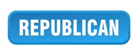 republican button. republican square 3d push button