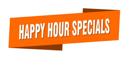 happy hour specials banner template. happy hour specials ribbon label sign