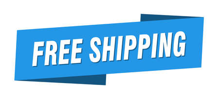 free shipping banner template. free shipping ribbon label sign Foto de archivo - 143627141