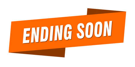 ending soon banner template. ending soon ribbon label sign Illustration