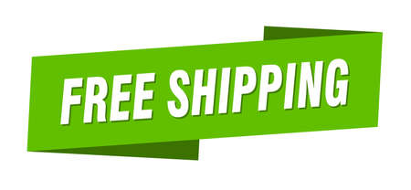 free shipping banner template. free shipping ribbon label sign Foto de archivo - 143640652