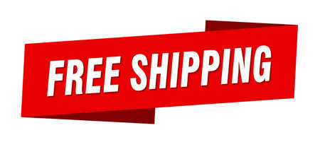 free shipping banner template. free shipping ribbon label sign Foto de archivo - 143640674