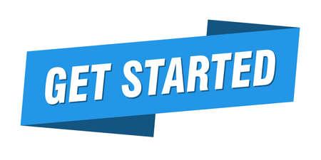 get started banner template. get started ribbon label sign Vector Illustratie