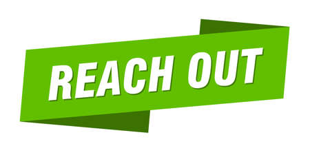 reach out banner template. reach out ribbon label sign