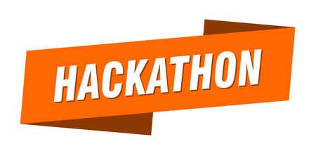 hackathon banner template. hackathon ribbon label sign