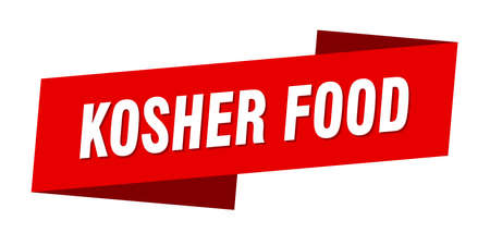 kosher food banner template. kosher food ribbon label sign