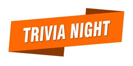 trivia night banner template. trivia night ribbon label sign Illustration