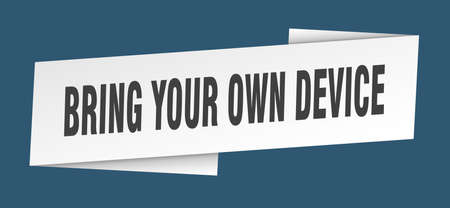 bring your own device banner template. bring your own device ribbon label sign  イラスト・ベクター素材