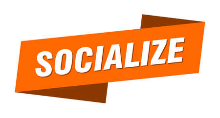 socialize banner template. socialize ribbon label sign