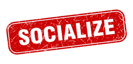 socialize stamp. socialize square grungy red sign Vettoriali