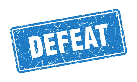 defeat stamp. defeat vintage blue label. Sign