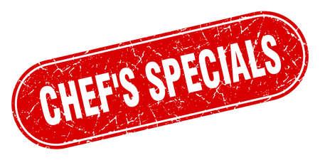 chef's specials sign. chef's specials grunge red stamp. Label